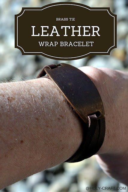 Easy to make brass tie leather wrap bracelet