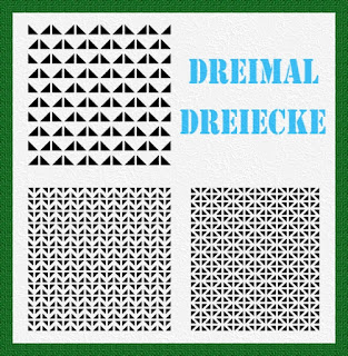 "Titelgrafik mit Text: ""Dreimal Dreiecke"""