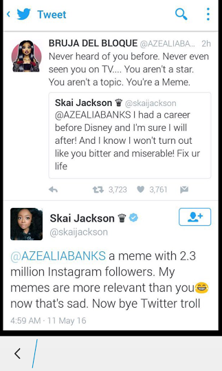 Disney star Skai Jackson and Azealia jackson fight on twitter