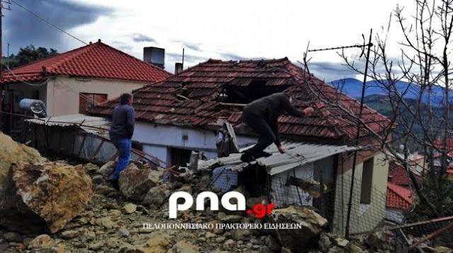 Κατολισθήσεις προκάλεσαν σοβαρές ζημιές σε οικία στην Ηλεία (βίντεο)