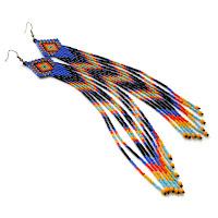 Купить бисерные серьги очень длинные подарок девушке женщине