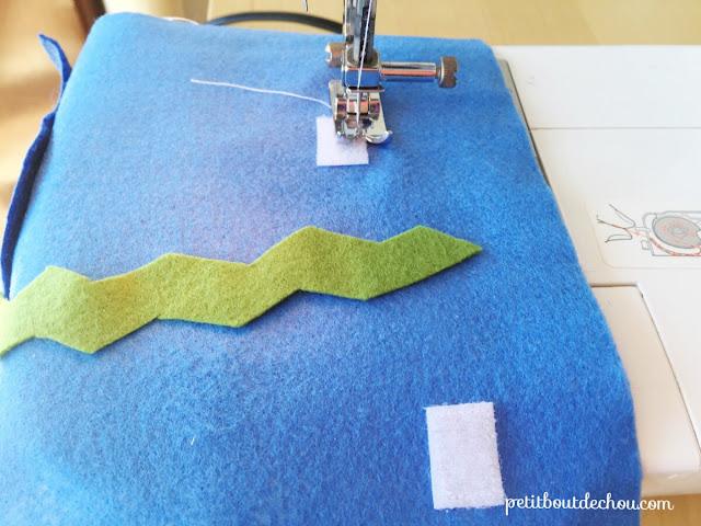 Loop side sewing on felt background