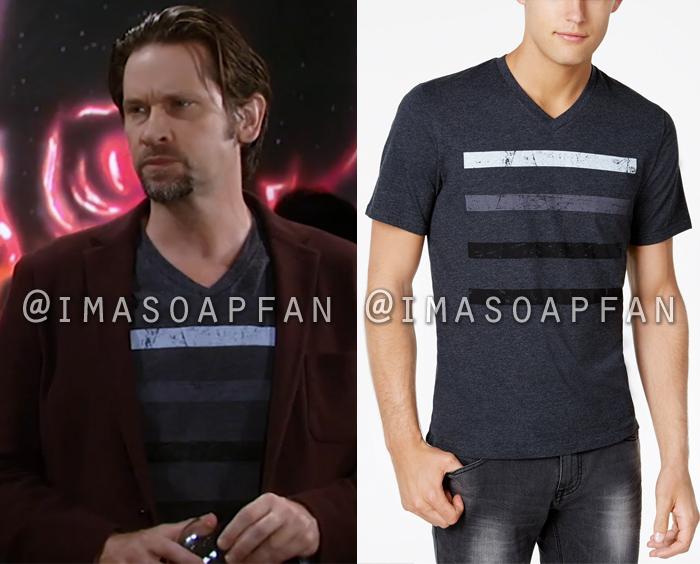 Franco Baldwin, Roger Howarth, Grey Striped V-Neck T-Shirt, General Hospital, GH