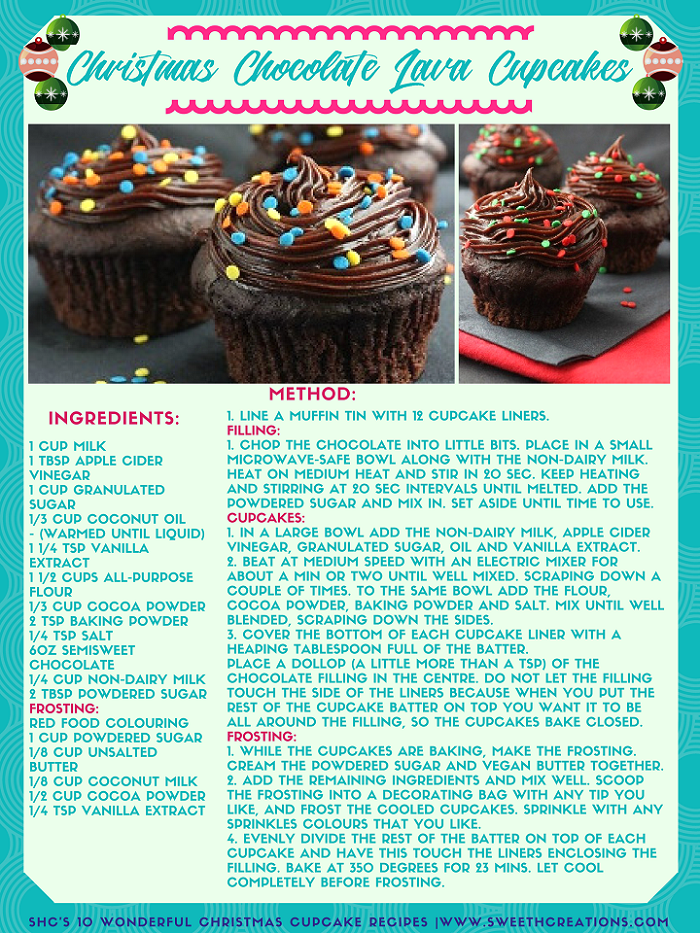 CHRISTMAS CHOCOLATE LAVA CUPCAKES RECIPE. Visit www.sweethcreations.com for the BEST HOMEMADE CUPCAKE & MUFFIN recipes now!   #sweetnesshavencreations #cupcakes #muffins #cake #beautifulcakes #cakerecipes #homemadecakes #cupcakerecipes #muffinrecipes #homemadedessert #homemade #homemaderecipes #dessert #dessertrecipes #recipes
