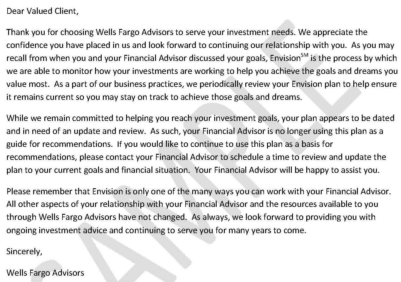Hartzman's: Wells Fargo Envision Deselection Letter sent to clients