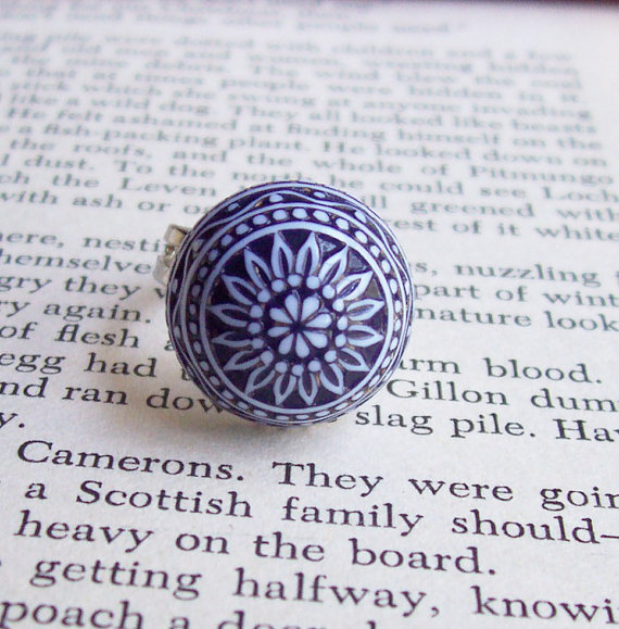 image domestika ring adjustable monaco blue navy white moroccan vintage east german cabochon acrylic dome
