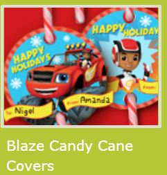 Blaze: Free Printable Candy Cane Covers.