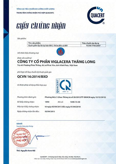 Viglacera Thăng Long đạt Quy chuẩn QCVN 16:2004/BXD
