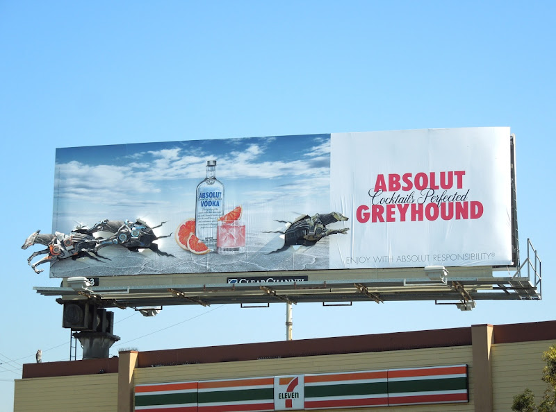 Absolut Greyhound dogs billboard installation