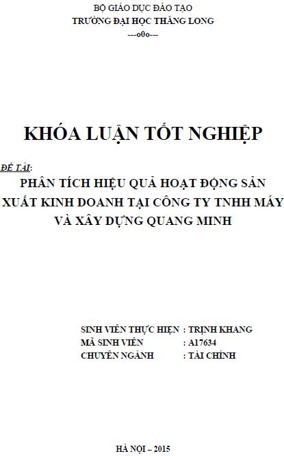 Phân tích hiệu quả hoạt động sản xuất kinh doanh tại Công ty TNHH Máy và Xây dựng Quang Minh
