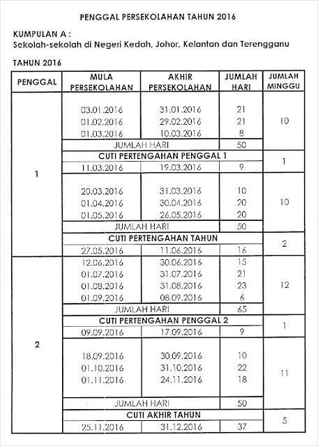Takwim Cuti Sekolah 2016  Kumpulan A