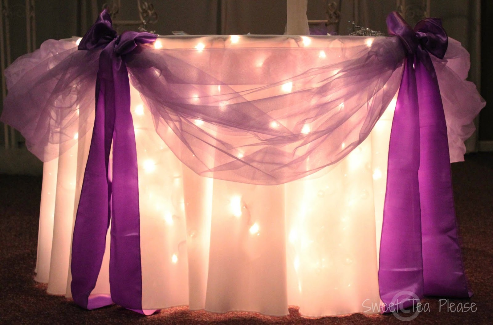 andrea howard blog decorating a cake table with lights and tulle a tutorial. Black Bedroom Furniture Sets. Home Design Ideas