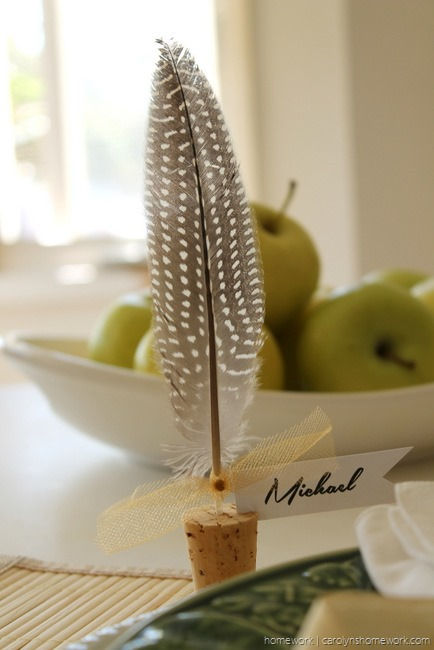 Cork and Feather Place cards for a beautiful fall table