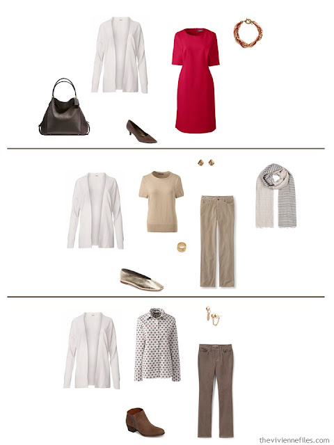 3 ways to wear an ivory cardigan from a work capsule wardrobe in shades of brown