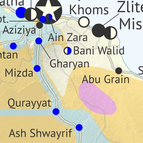 Libya: Who controls what? A concise, professional map of of who controls Libya now (April 2019). Shows detailed territorial control in the Libyan Civil War as of April 14, 2019, including all major parties (Government of National Accord (GNA); Tobruk House of Representatives, General Haftar's Libyan National Army (LNA), and allies; Tuareg and Toubou (Tebu, Tubu) militias in the south; the so-called Islamic State (ISIS/ISIL); and other groups such as the National Salvation Government (NSG) and religious hardline fighters). Includes terrain, major roads, and recent locations of interest including Aziziyah, Ain Zara, Tripoli International Airport, and more. Colorblind accessible.