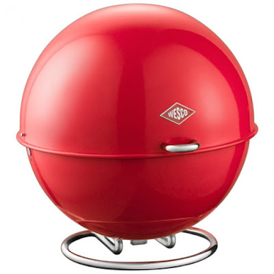 Red bread box, made of steel, shaped like a ball