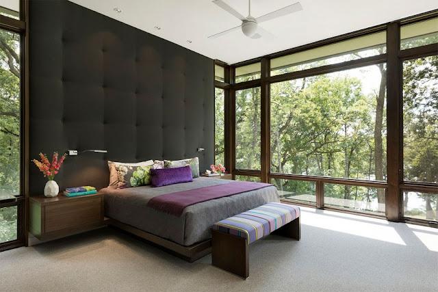 Phòng ngủ tận dụng tối đa anh sáng tự nhiên view san vườn, view hồ