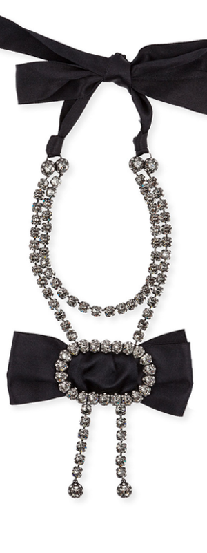 Lanvin Black Bow Crystal Pendant Necklace