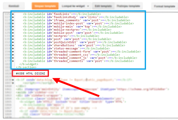 Contoh Pemasangan HTML