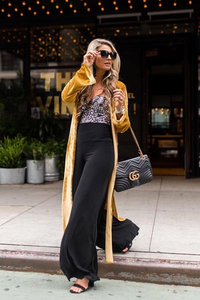 15+ Alternative Fall Outfits to Wear This Season | Leena Bodysuit + Elephant Pants + Robe in mustard + Gucci Shoulder Bag
