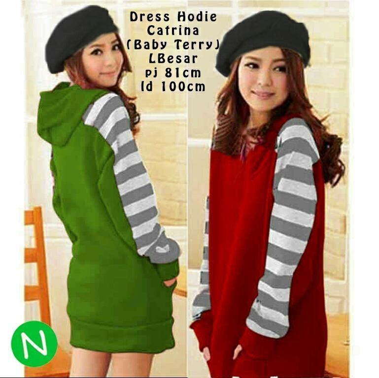 Jual Baju Big Size Dress Catrina Hoodie Lengan Panjang - 12758