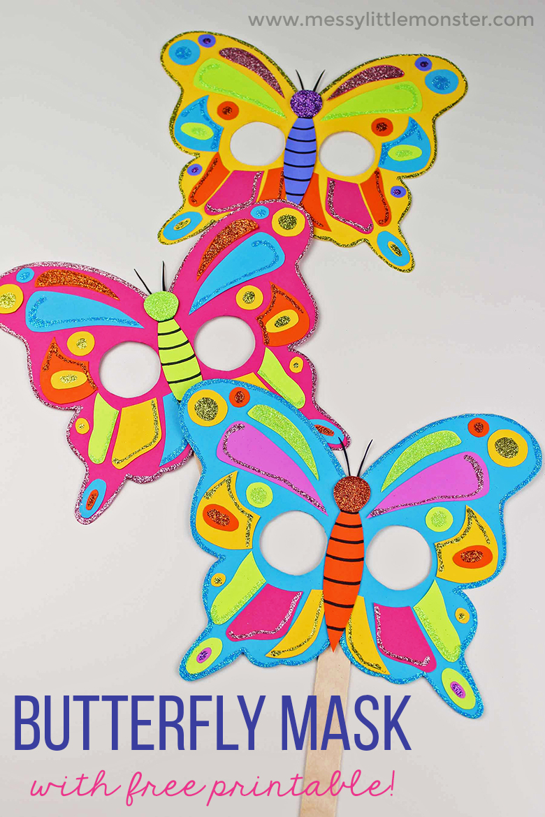 Butterfly Mask Craft for toddlers and preschoolers with Free Printable Butterfly Template. An easy kids craft for Spring or Summer.