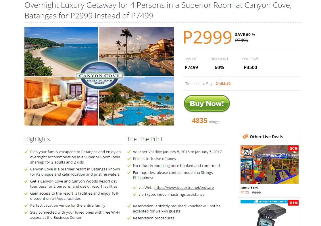 Canyon Cove Batangas Rates