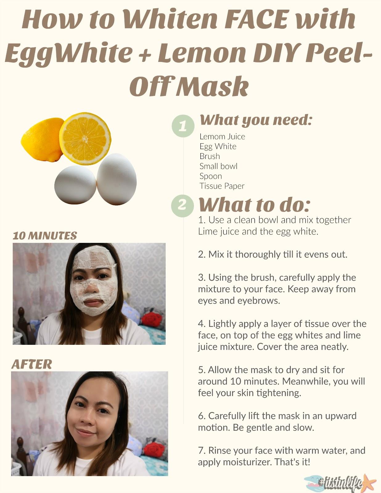 Whiten SKIN with EggWhite + Lemon DIY Peel-Off Mask | itstinlife