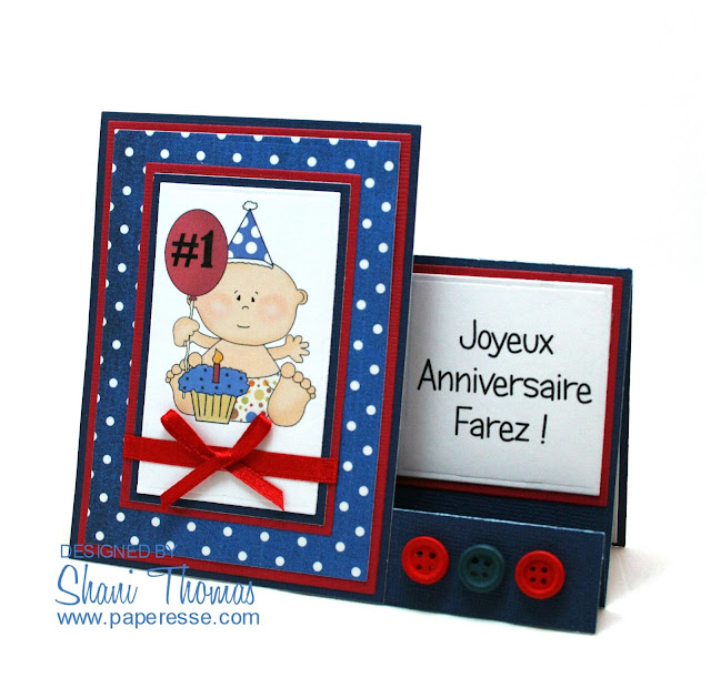 Baby Boy's 1st Birthday card, by Paperesse.