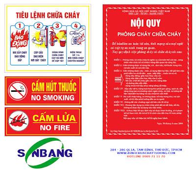Bảng nội quy tiêu lệnh chữa cháy - Sơn Băng