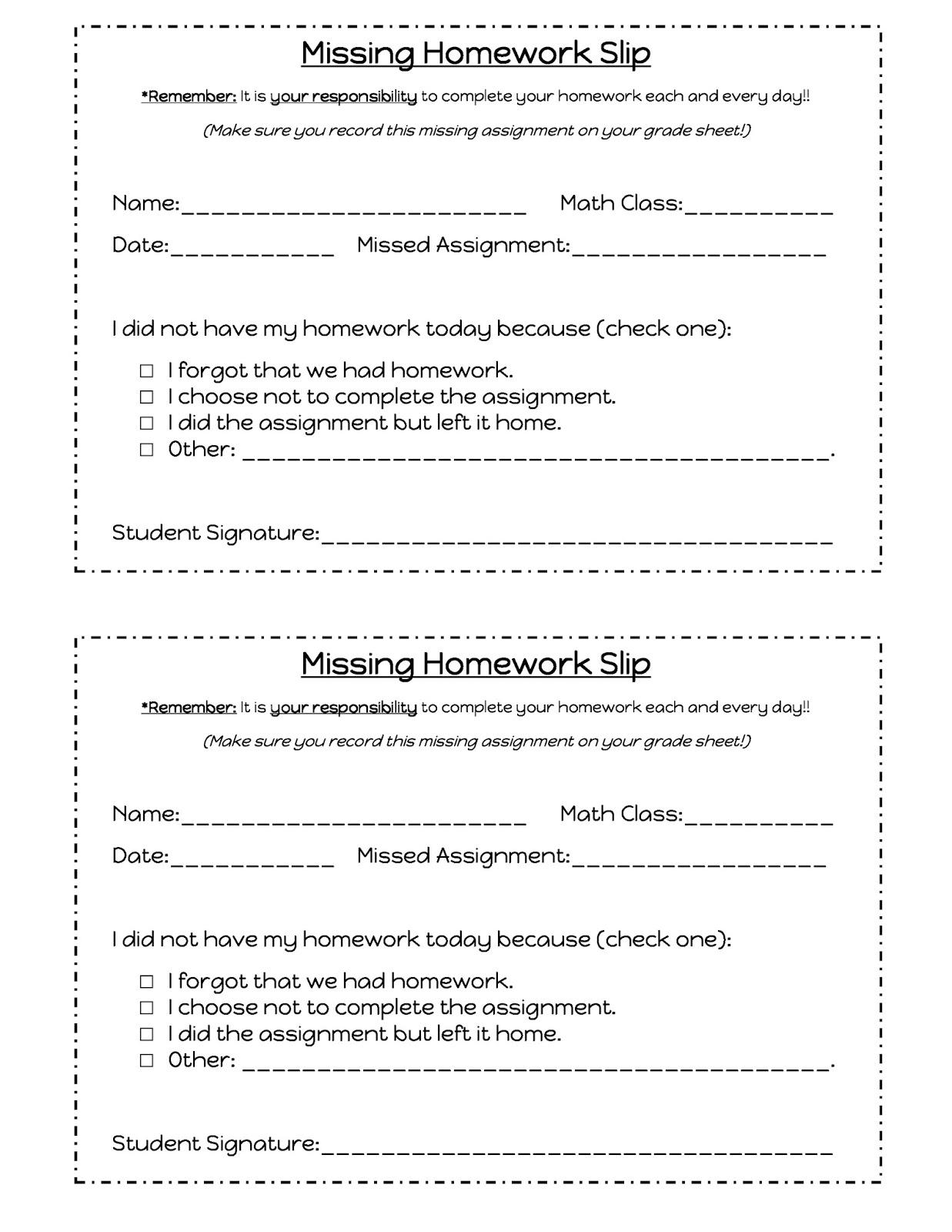 class assignment sheet
