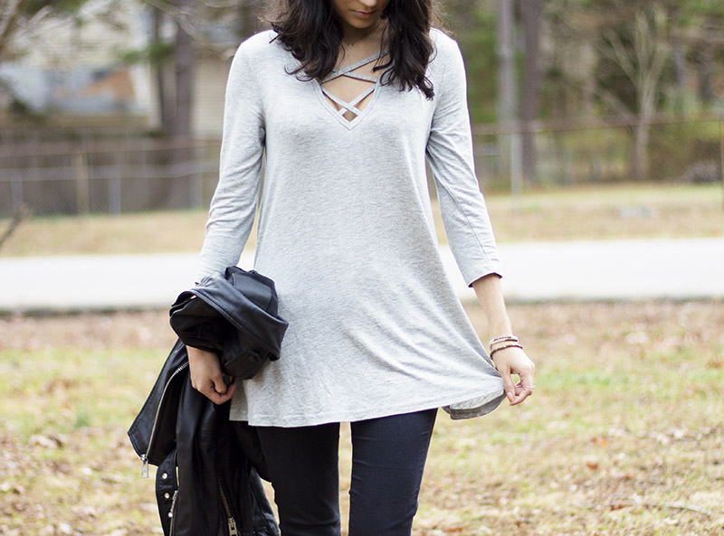 Rue 21 Criss Cross tunic outfit