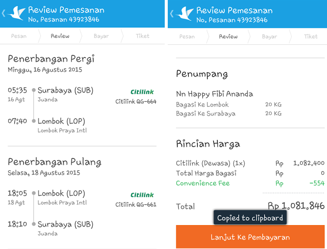 Tiket pemesanan pesawat Citilink | Traveloka App