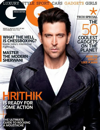 Hritik Roshan on the cover of GQ Magazine's November 2013 Edition
