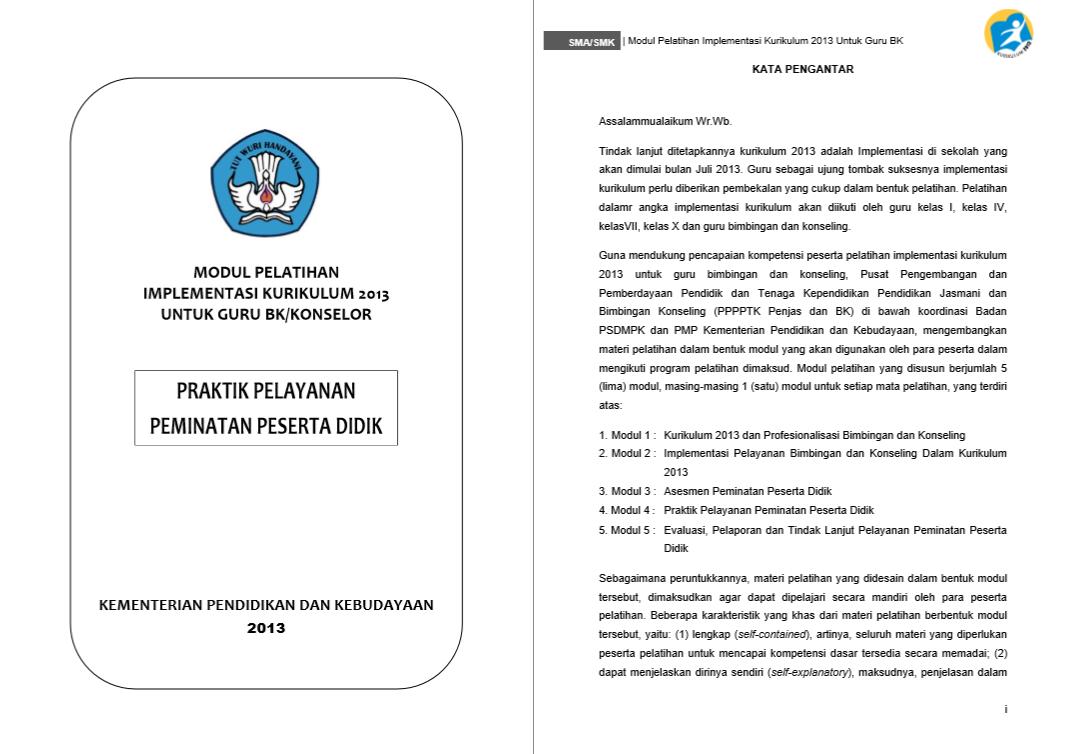 Modul Pelatihan Implementasi Kurikulum 2013 - Praktik Pelayanan Peminaan Peserta Didik