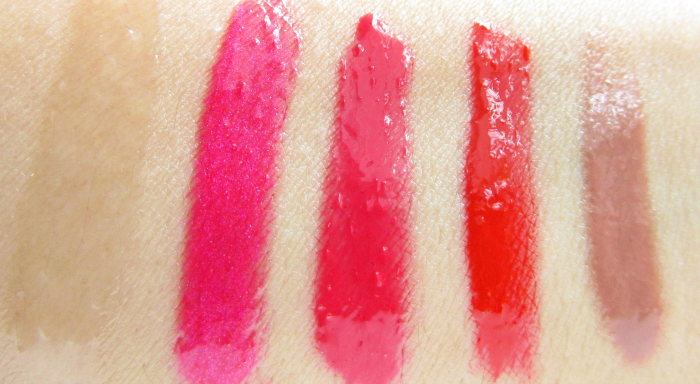 Review & Swatches: uma cosmetics glossy lipgloss: Shinyrella, pinky and the game, glamouros flames, I see fire, toffee lips