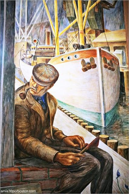 "Mural ""Shipping"" de William Hesthal en la Torre Coit de San Francisco"