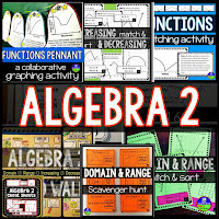 Algebra 2 activities bundle