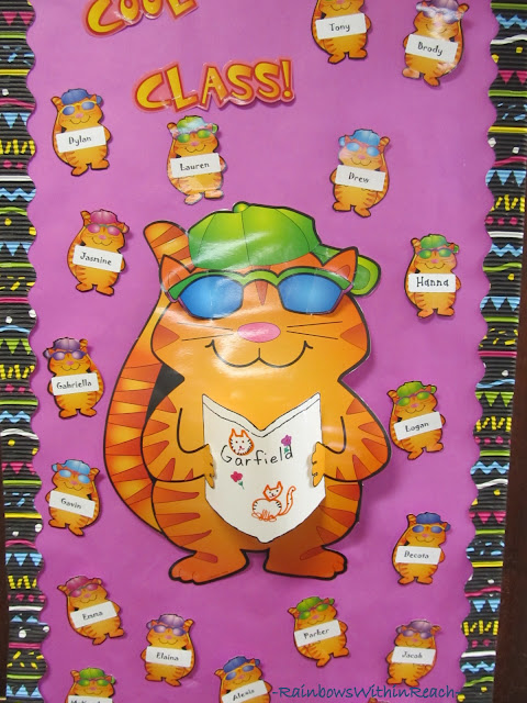 photo of: Classroom Door Decoration: Garfield Reading Theme
