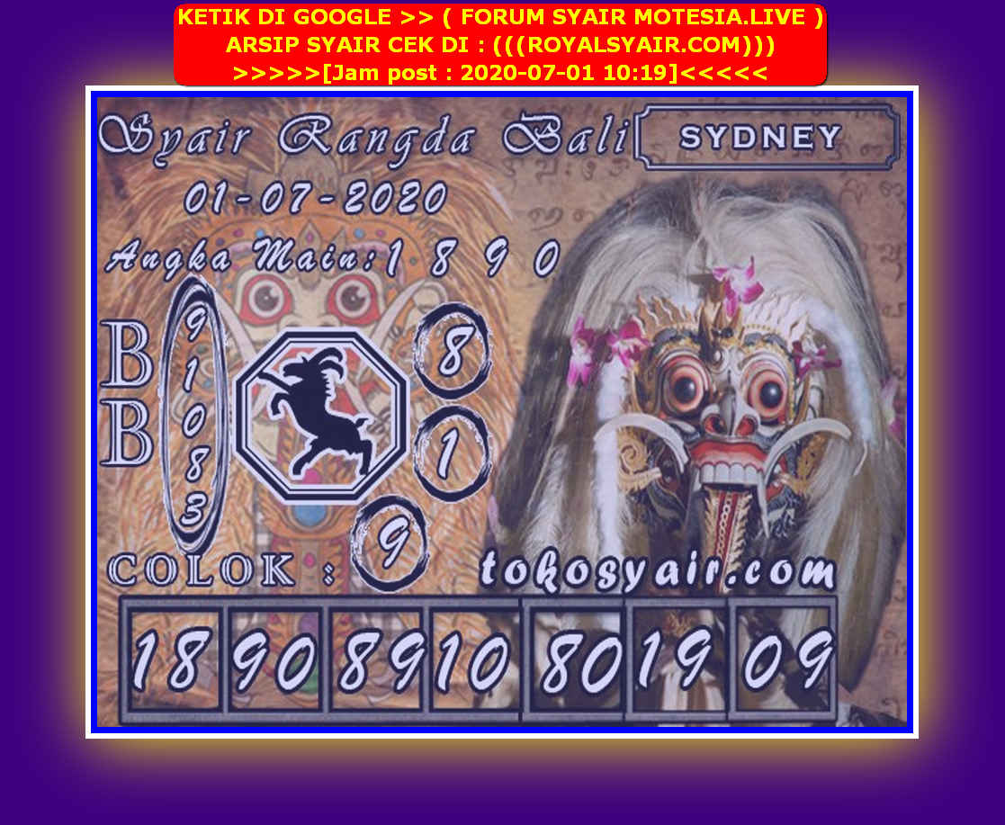 Kode syair Sydney Rabu 1 Juli 2020 174