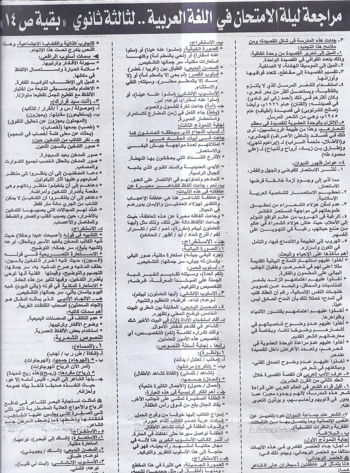 ملحق الجمهورية .. ينشر المراجعة الاخيرة لغة عربية للثانوية العامة 2016 16