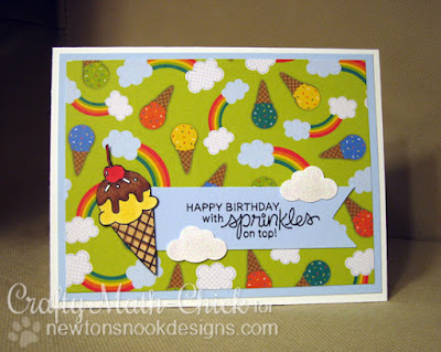 Ice cream cone birthday card by Crafty Math Chick | Summer Scoops by Newton's Nook Designs