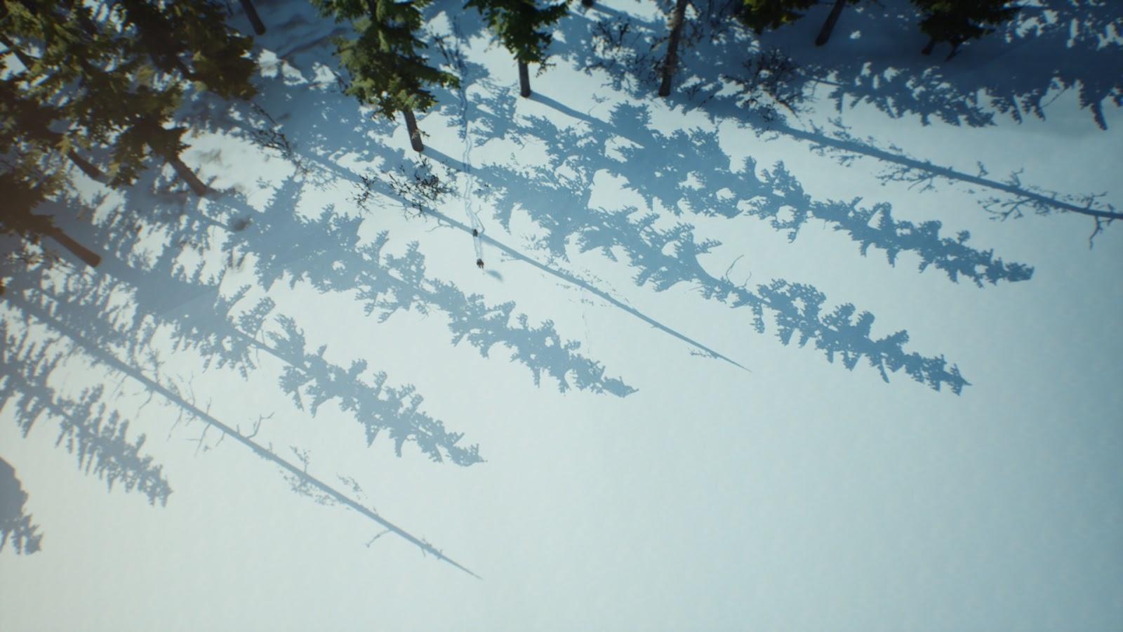 A srácok a hóban ballagnak az erdőből kiérve.