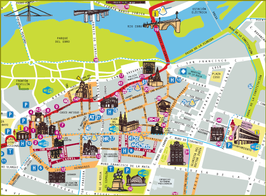 Mapa turístico de Logroño.
