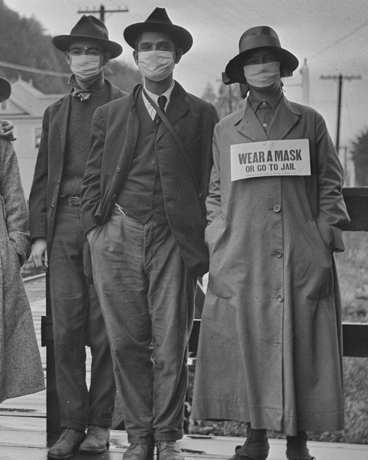 El uso de máscaras durante la pandemia de gripe española, 1918
