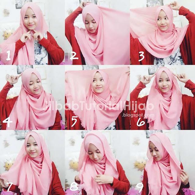 Langkah-langkah tutorial cara memakai Hijab Pashmina Praktis Terbaru 2016