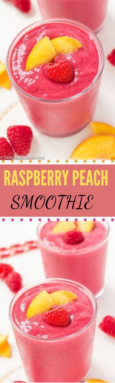 Raspberry Peach Smoothie #smoothie #drink