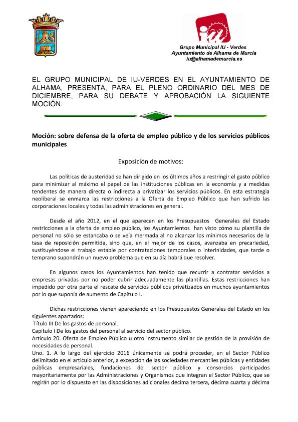 Izquierda unida verdes alhama de murcia moci n sobre - Ofertas de empleo en murcia ...
