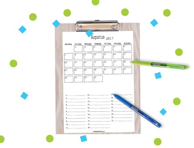 Augustus maandkalender gratis printable, augustus planner, mascha planner, planner augustus, kalender voor augustus, gratis kalender