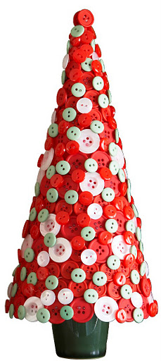 Another Easy Project For Those Crafty Fingers Glued Red And White Buttons Make Such A Pretty Christmas Tree